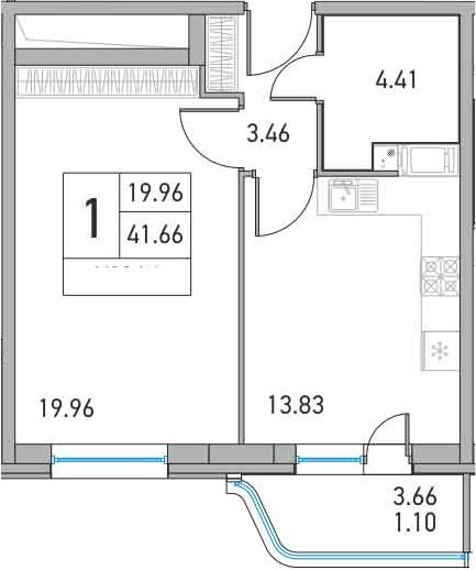 1-комнатная, 41.66 м²– 2