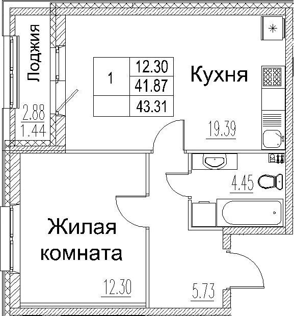2-к.кв (евро), 44.75 м²