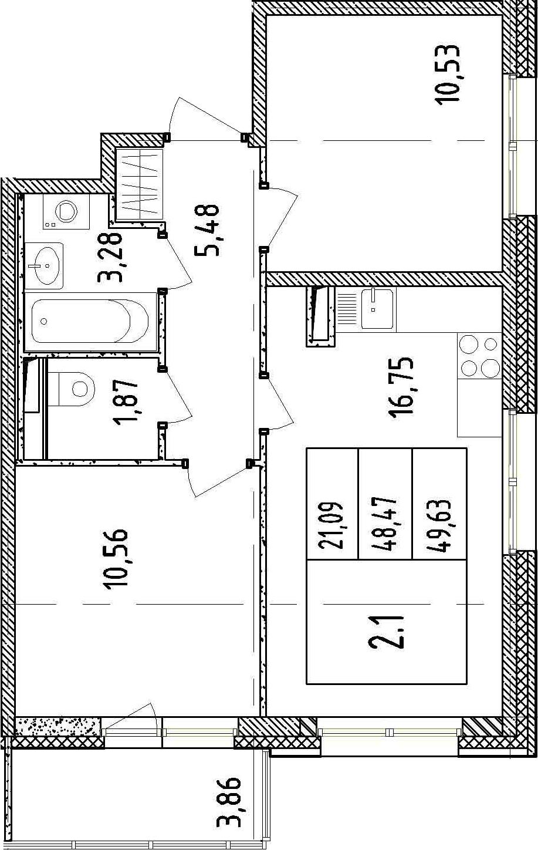 3Е-к.кв, 48.47 м²