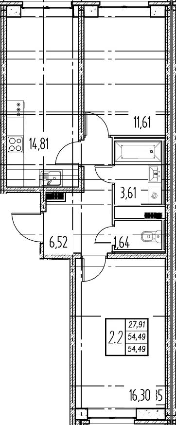 3Е-комнатная, 54.49 м²– 2