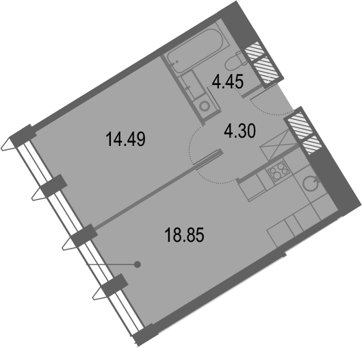 2Е-комнатная, 42.09 м²– 2