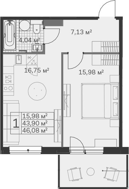 2-к.кв (евро), 51.17 м²