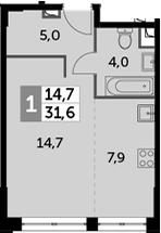 Студия, 31.6 м²– 2
