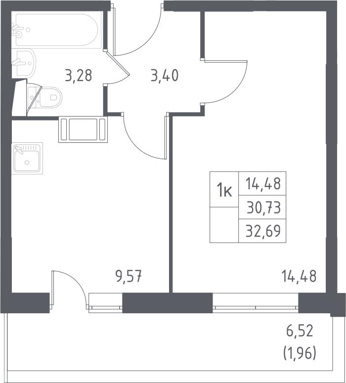 1-к.кв, 32.69 м², от 13 этажа