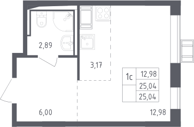 Студия, 25.04 м², 17 этаж – Планировка
