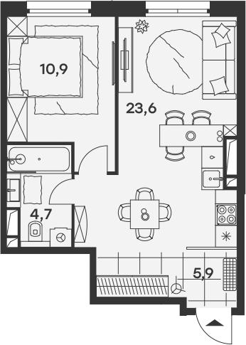 2Е-комнатная, 45.1 м²– 2