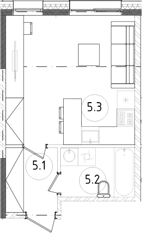 Студия, 26.92 м²