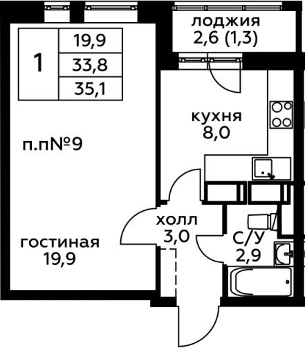 1-комнатная, 35 м²– 2