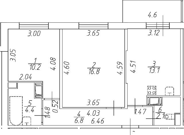 2-к.кв, 58 м²