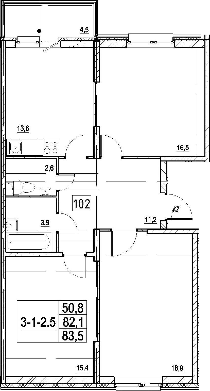 3-к.кв, 83.5 м²