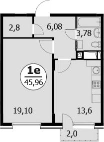 2-к.кв (евро), 47.36 м²