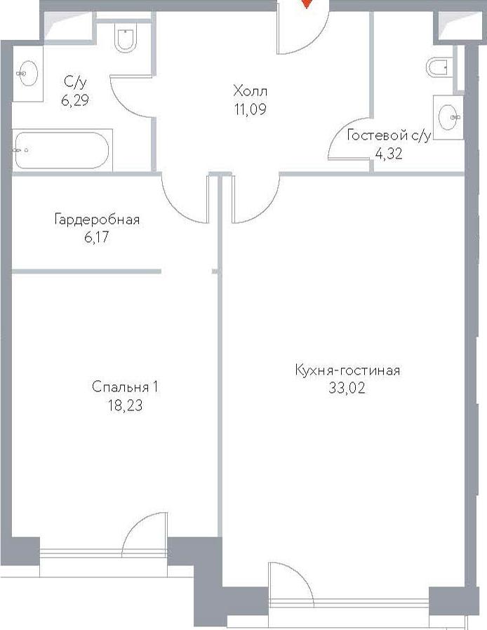 2Е-комнатная, 79.12 м²– 2