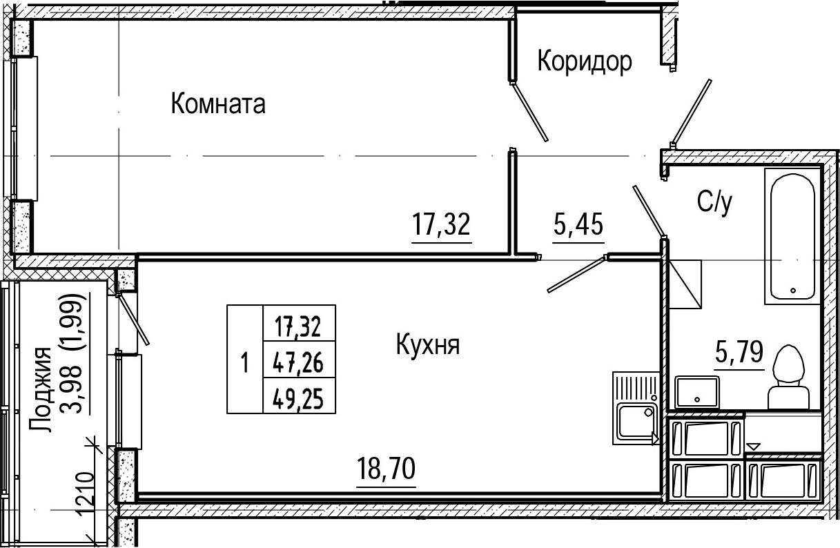 2Е-комнатная, 49.25 м²– 2