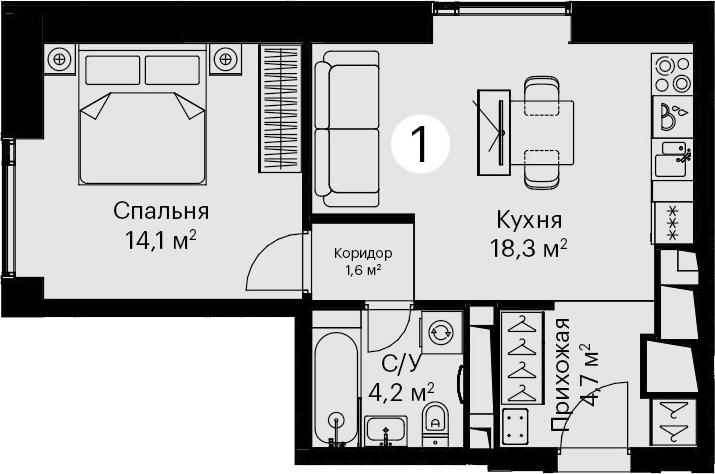 2Е-комнатная, 41.3 м²– 2