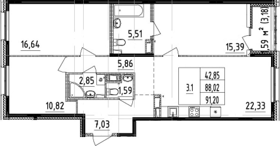 4Е-комнатная, 88.02 м²– 2