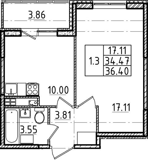 1-комнатная, 36.4 м²– 2