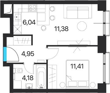 2Е-к.кв, 37.96 м², 15 этаж