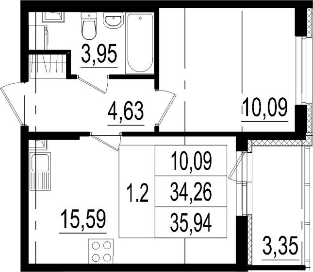 2Е-к.кв, 34.26 м², 2 этаж