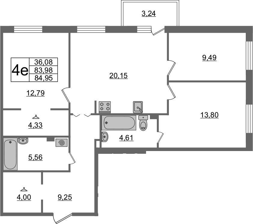 4Е-комнатная, 84.95 м²– 2