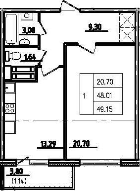 1-к.кв, 51.81 м²