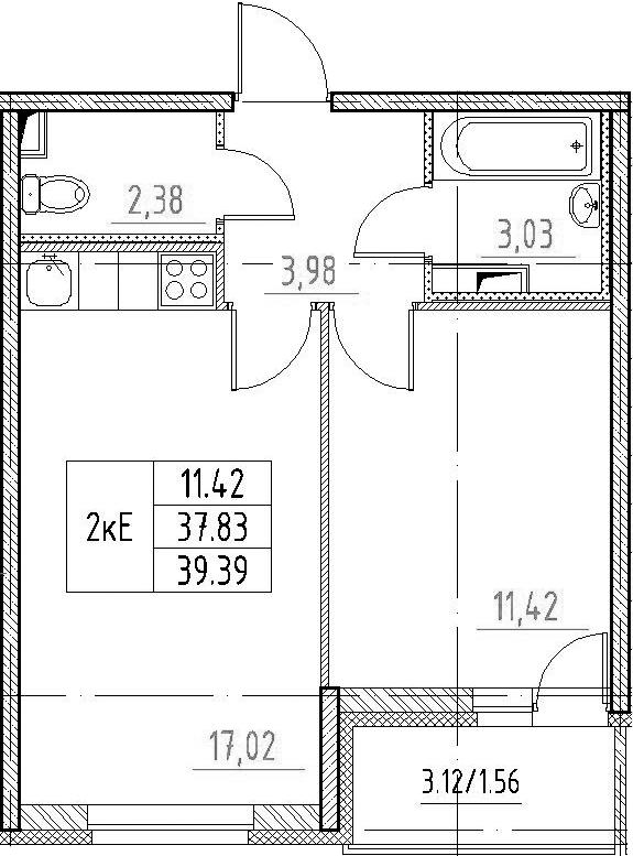 2-к.кв (евро), 40.95 м²