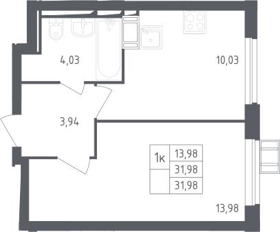 1-комнатная, 31.98 м²– 2