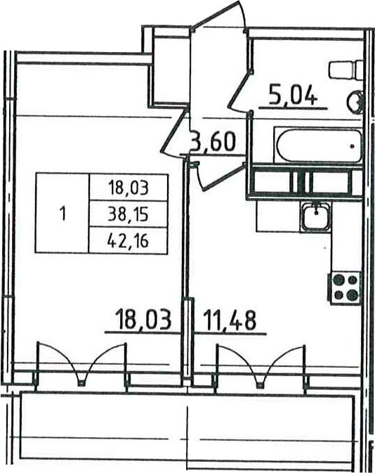 1-к.кв, 42.16 м², 11 этаж