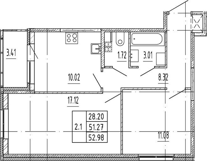 2-комнатная, 51.27 м²– 2