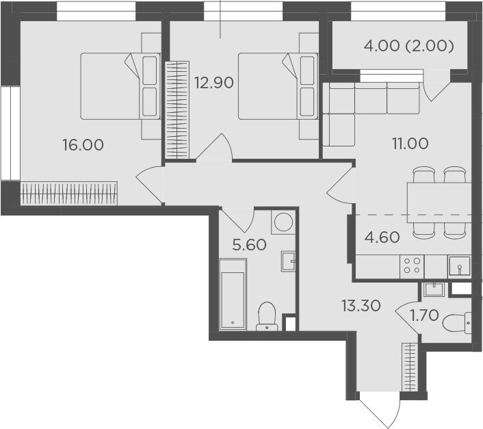 3Е-к.кв, 67.1 м²