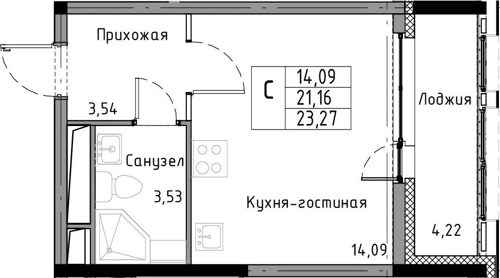 Студия, 23.27 м²– 2