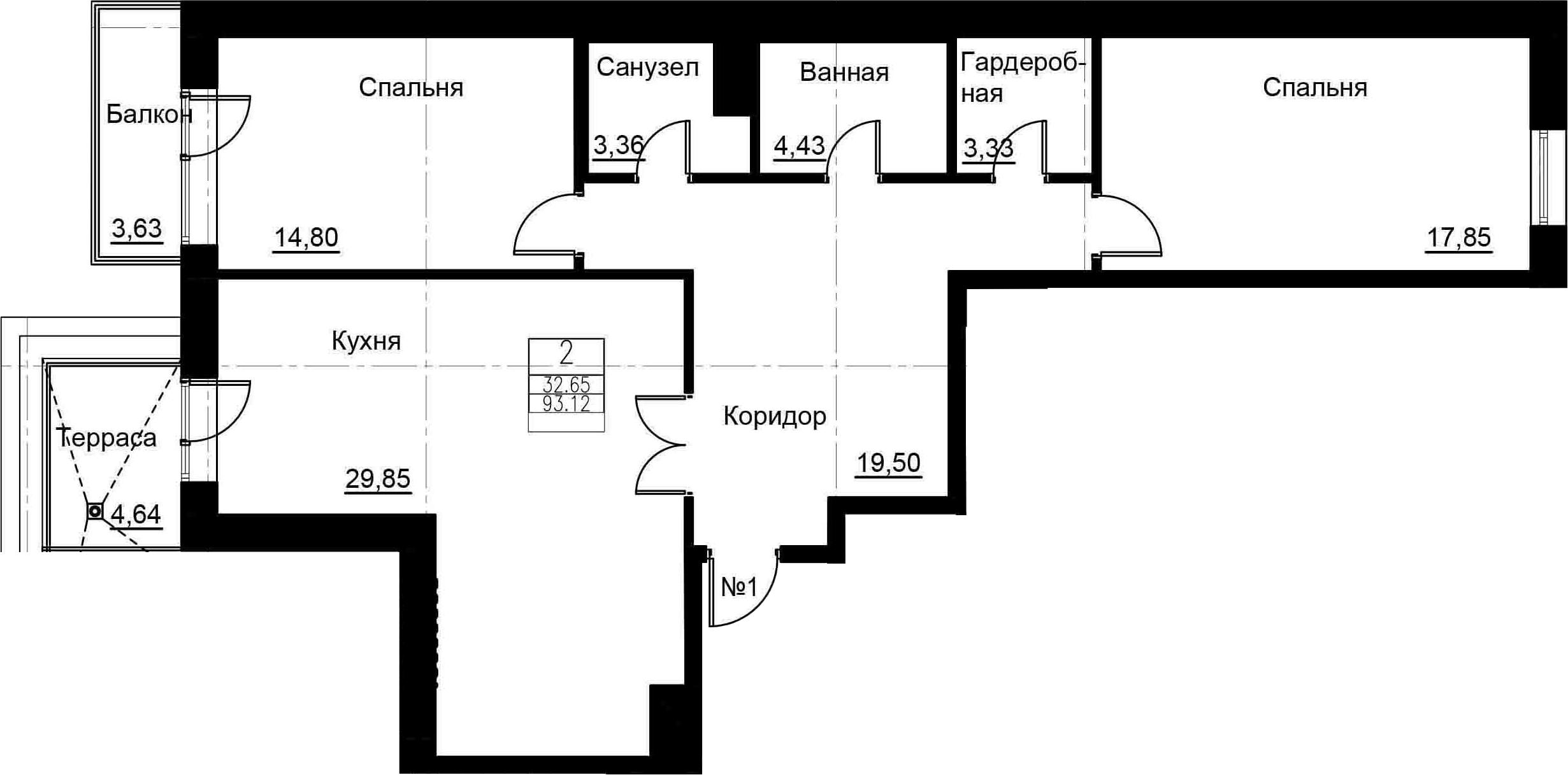 3-к.кв (евро), 101.39 м²