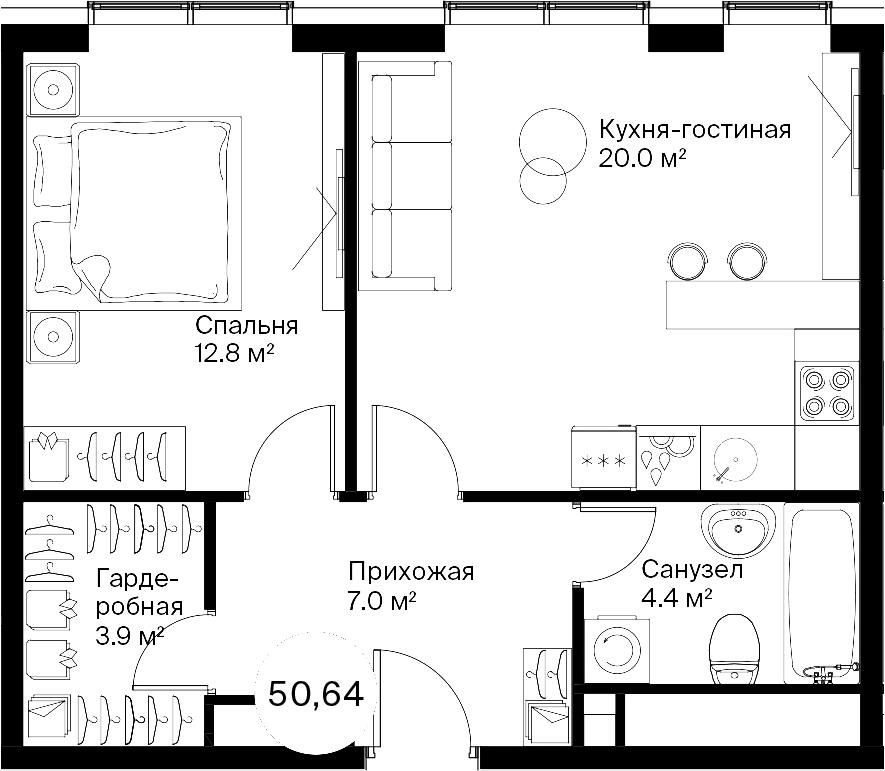 2Е-к.кв, 50.08 м²