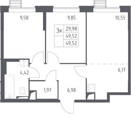 3-к.кв (евро), 49.52 м²