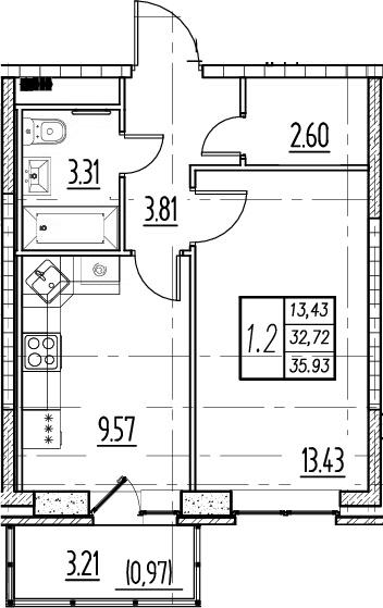 1-комнатная, 32.72 м²– 2