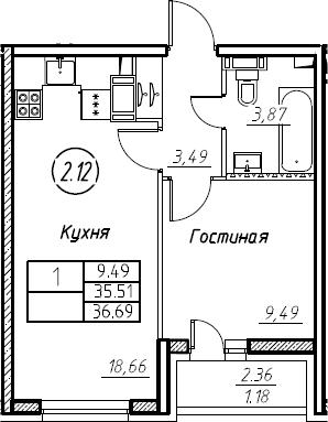 2Е-к.кв, 36.69 м²