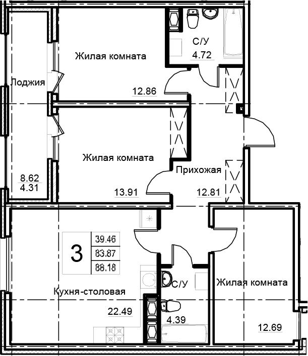 4-к.кв (евро), 92.49 м²