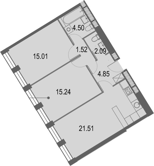 3Е-комнатная, 64.72 м²– 2