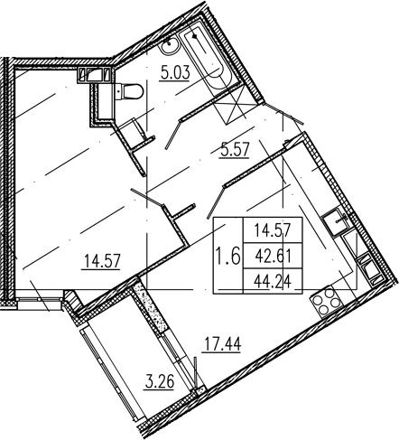 2Е-к.кв, 42.61 м², 8 этаж