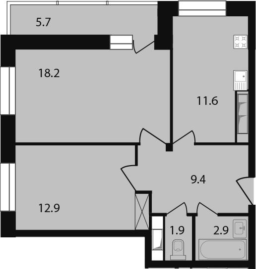 2-к.кв, 62.6 м²