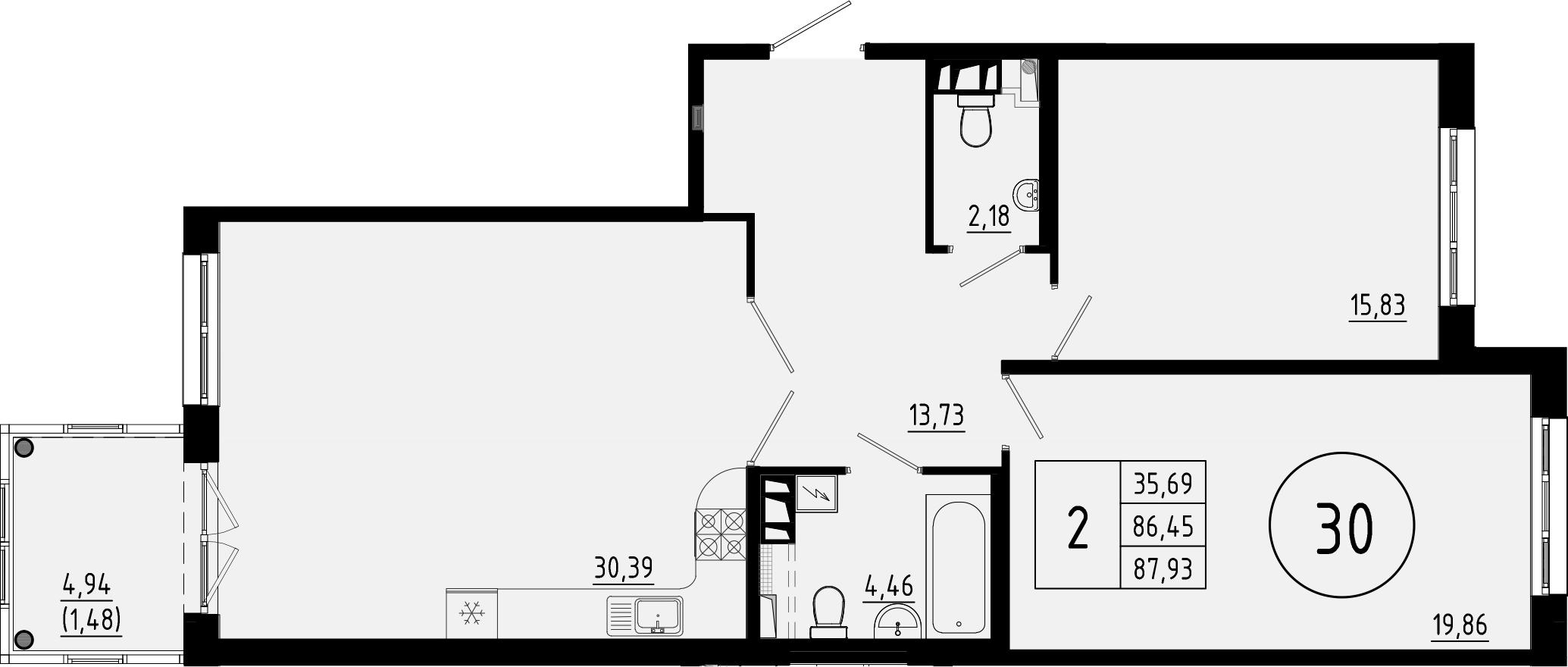 3Е-комнатная, 86.7 м²– 2