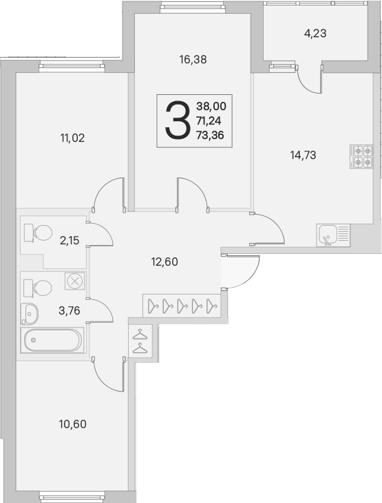 3-к.кв, 71.24 м²