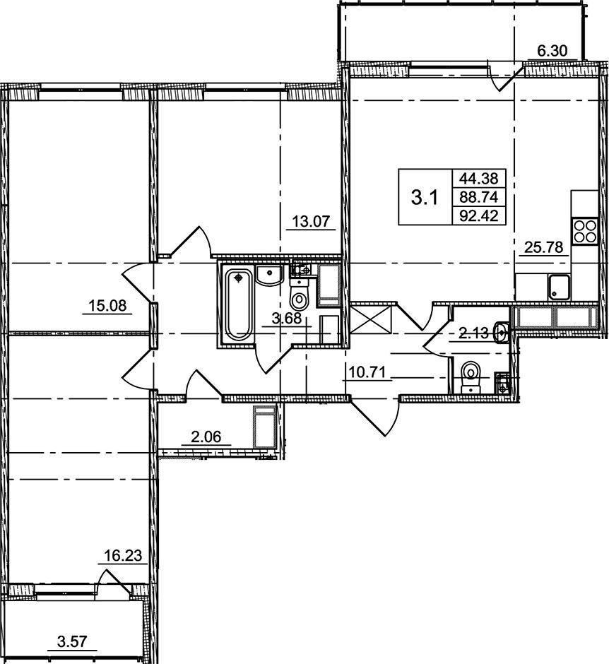 4Е-к.кв, 88.74 м²