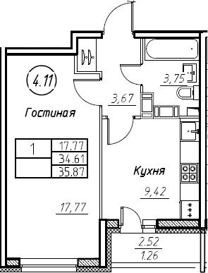 1-к.кв, 35.87 м², 19 этаж