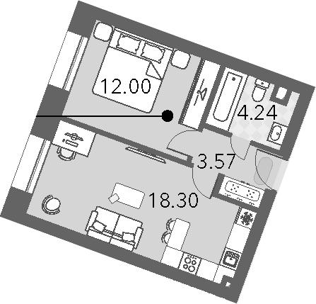 2Е-к.кв, 38.11 м², 2 этаж
