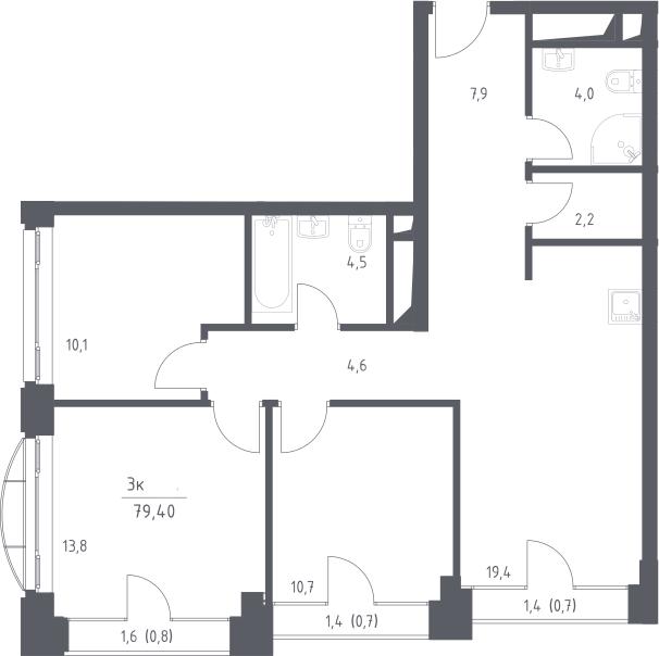 4Е-комнатная, 79.4 м²– 2
