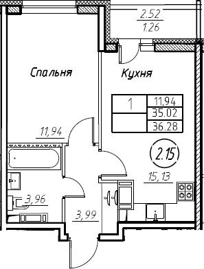 2Е-к.кв, 36.28 м², от 16 этажа