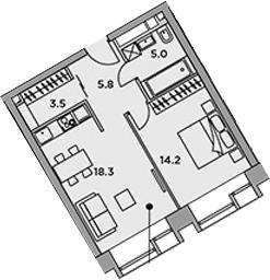 2-к.кв (евро), 46.8 м²