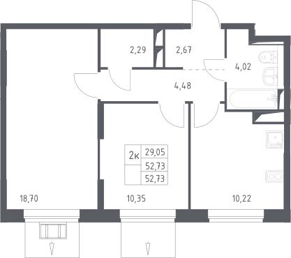 2-к.кв, 52.73 м²