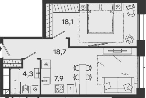 2Е-комнатная, 49 м²– 2