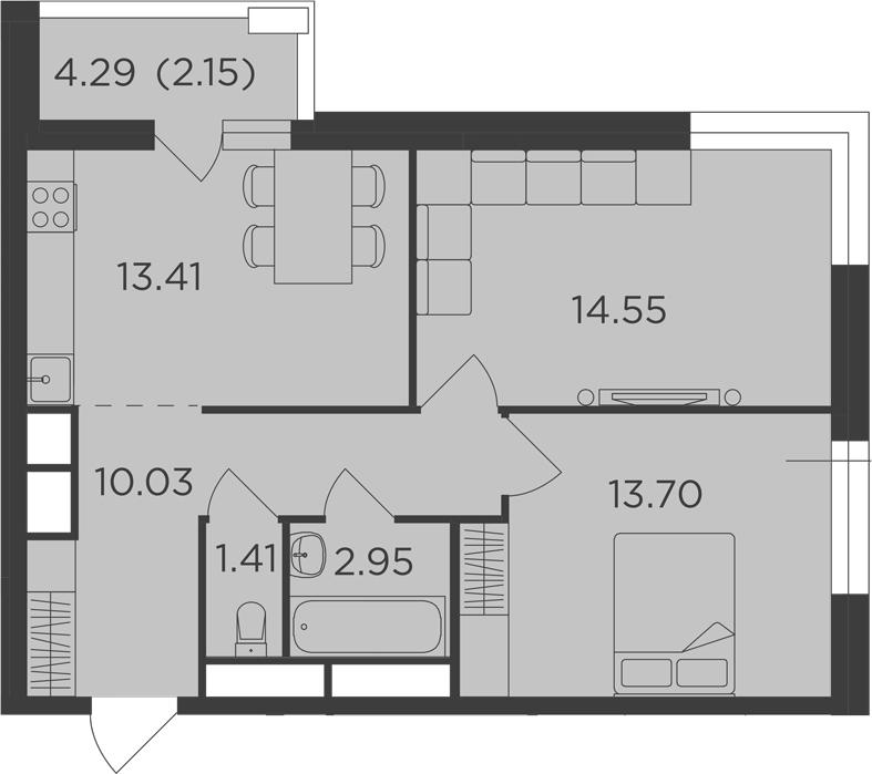 2-к.кв, 58.2 м², 24 этаж